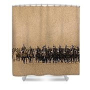 180 Degrees Panorama Troops Passing In Review No Date Or Locale Restored Color Added 2008 Shower Curtain