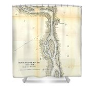 1865 Uscs Map Of The Mississippi River 78 To 98 Miles Above Cairo Illinois Shower Curtain