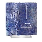 1911 Mechanical Skeleton Patent Blue Shower Curtain