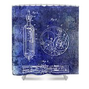1913 Pocket Watch Patent Blue Shower Curtain