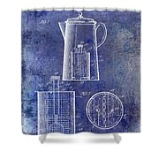 1921 Coffee Pot Patent Shower Curtain