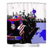 1930 American Lafrance Fire Truck Pro-viet Nam War March Tucson Arizona 1970 Color Added Shower Curtain
