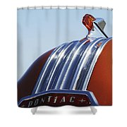 1952 Pontiac Tin Woodie Wagon Hood Ornament Shower Curtain