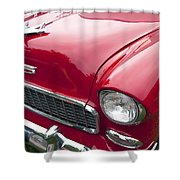 1955 Chevrolet Bel Air Hood Ornament Shower Curtain