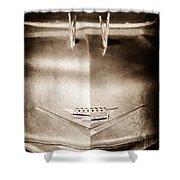 1956 Cadillac Eldorado Biarritz Convertible Hood Ornament - Emblem Shower Curtain