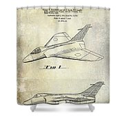 1956 Jet Airplane Patent 2 Blue Shower Curtain