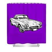 1962 Chevrolet Corvette Illustration Shower Curtain