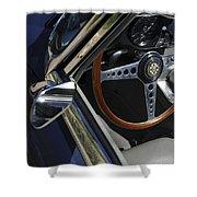 1963 Jaguar Xke Roadster Steering Wheel Shower Curtain