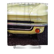 1965 Yellow Sting Ray Front Bumper Shower Curtain