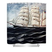 3 Master Tall Ship Shower Curtain