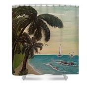 3 Palms Shower Curtain