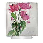 3 Pink Flowers Shower Curtain