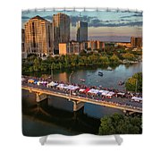 A Beautiful Sunset Falls On The Austin Skyline As Thousands Of Bat Watchers Line The Congress Avenue Bridge During The Annual Bat Fest To Watch The Bats Take Flight Shower Curtain