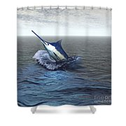 A Blue Marlin Bursts From The Ocean Shower Curtain