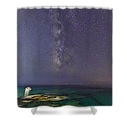 A Boat Under The Milky Way In Andros - Greece Shower Curtain