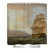 A British Man Of War Before The Rock Of Gibraltar Shower Curtain