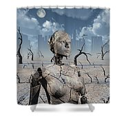 A Broken Down Petrified Android Robot Shower Curtain