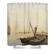 A Busy Harbour Shower Curtain