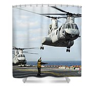 A Ch-46e Sea Knight Helicopter Takes Shower Curtain