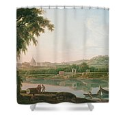 A Distant View Of Rome Across The Tiber Shower Curtain