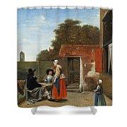 A Dutch Courtyard Shower Curtain