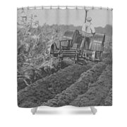 A Farmer Driving A Tractor Shower Curtain