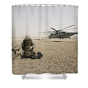A Field Radio Operator Sets Shower Curtain by Stocktrek Images