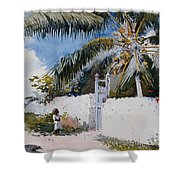 A Garden In Nassau Shower Curtain by Winslow Homer
