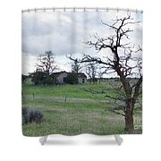 A Ghostly Tree Guards An Abandoned House At Bluestem Shower Curtain by Charles Robinson