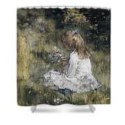 A Girl With Flowers On The Grass Shower Curtain