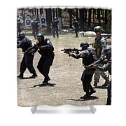 A Green Beret Walks With Tigres Shower Curtain