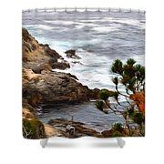 A Grey Day At Big Sur 2 Shower Curtain