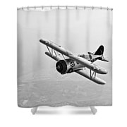 A Grumman F3f Biplane In Flight Shower Curtain