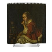 A Lady At A Spinning Wheel Shower Curtain