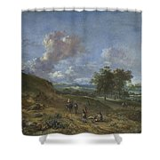 A Landscape With A High Dune And Peasants On A Road Shower Curtain