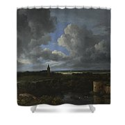 A Landscape With A Ruined Castle And A Church Shower Curtain