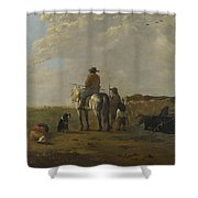 A Landscape With Horseman Herders And Cattle Shower Curtain