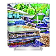 A Line Of Classic Antique Cars 3 Shower Curtain