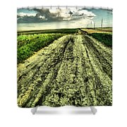 A Long Gravel Road Shower Curtain
