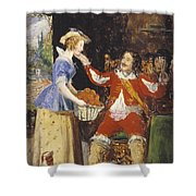 A Maid Offering A Basket Of Fruit To A Cavalier Shower Curtain