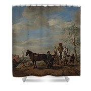 A Man And A Woman On Horseback Shower Curtain