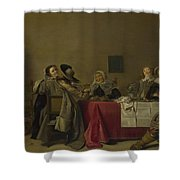 A Merry Company At Table Shower Curtain