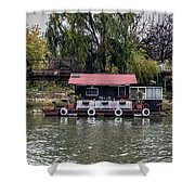 A Raft House Moored To The Shoreline Of Ada Medjica Islet Shower Curtain