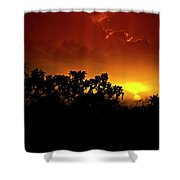 A Red Hot Desert Sunset  Shower Curtain