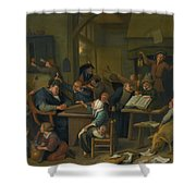 A Riotous Schoolroom With A Snoozing Schoolmaster Shower Curtain