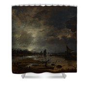 A River Near A Town By Moonlight Shower Curtain