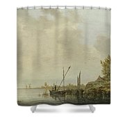 A River Scene With Distant Windmills Shower Curtain