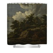A Rocky Hill With Three Cottages A Stream At Its Foot Shower Curtain