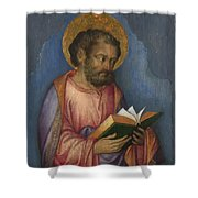 A Saint With A Book Shower Curtain