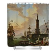 A Seaport Shower Curtain